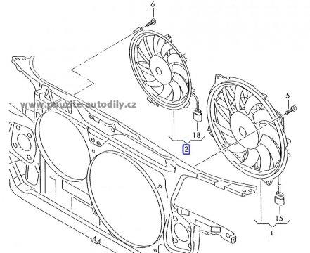 Ventilátor chladiče Audi A8 04-10, 4E0959455H, Bosch