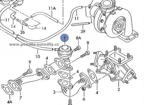 Ventil AGR zpětného vedení zplodin 059131503, Škoda Superb