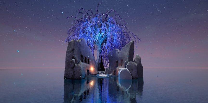senza peso screenshot of purple tree