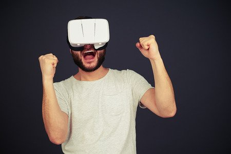 bearded man with vr headset on