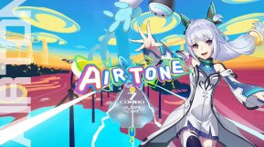 airtone vr - anime character in dress with spaceships and windfarm