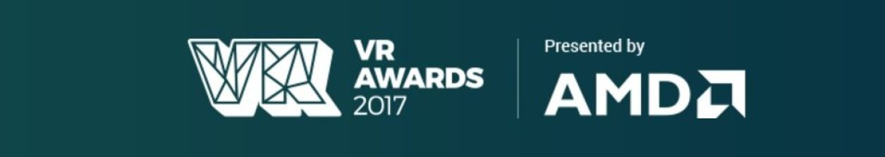 2017 vr awards presented by amd banner teal and white