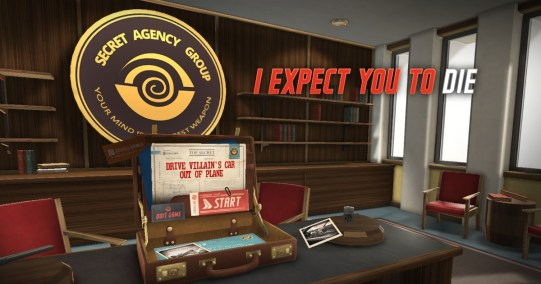 i expect you to die vr office with briefcase, bookshelves, chairs secret agency group