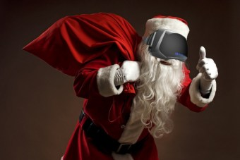 oculus rift santa wearing suit with white gloves