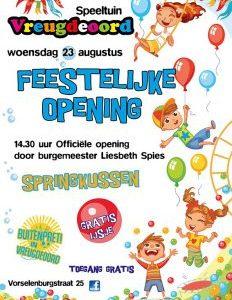 Officiele opening trampolines door burgemeester Spies