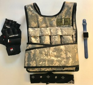Weight vest, gloves, apple watch