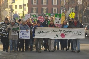 Photo from www.mychamplainvalley.com of marchers during Rally for Life