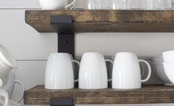 88 wood shelves with metal brackets new our modern farmhouse kitchen makeover casa campo