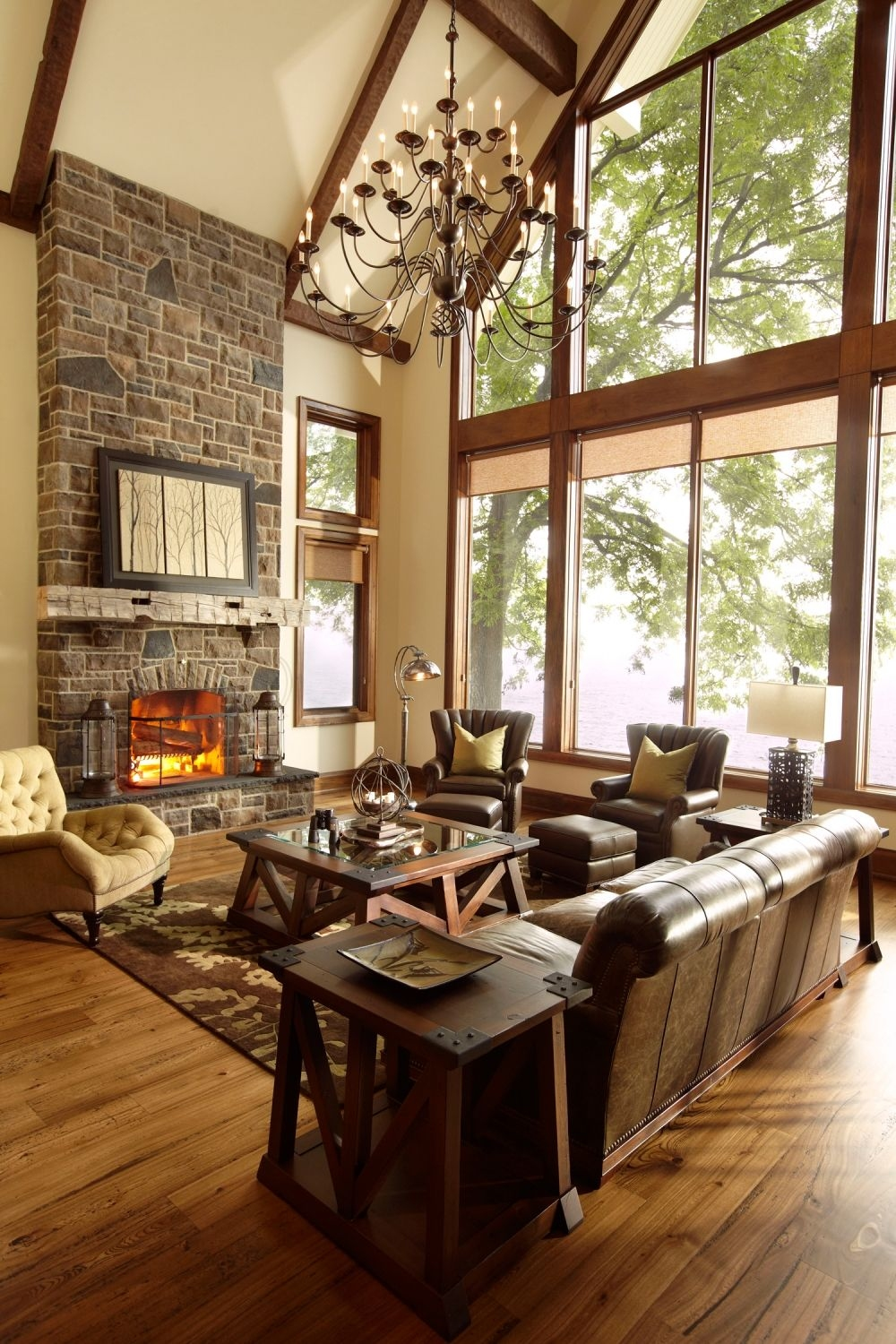 Rustic Mountain House Plans with Walkout Basement Awesome Beautiful Wide Open Living Room with Spectacular Windows the