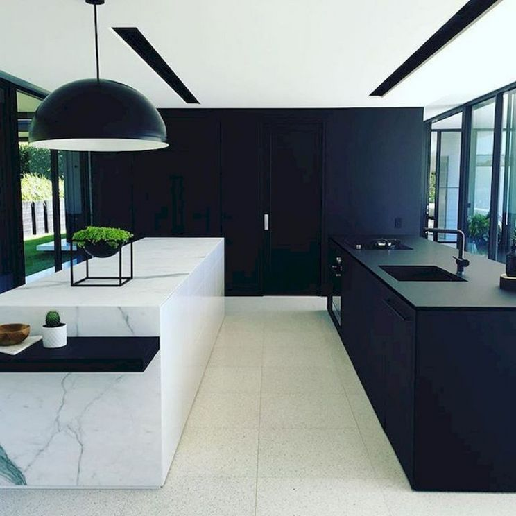Beautifull Totally Modern Black And White Kitchen 74