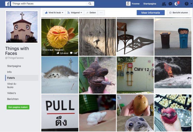 Screenshot van Things With Faces Facebookpagina