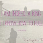 "Quote: ""I am, indeed, a king, because I know how to rule myself"" met kasteel van Budapest op de achtergrond"