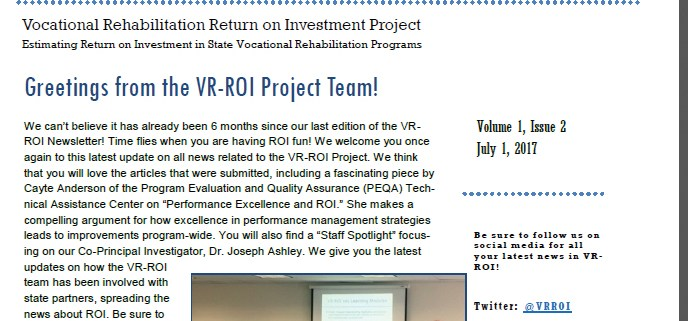 picture of the VR - ROI Newsletter Volume 1, Issue 2