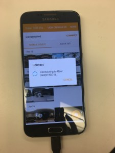 Menu screen syncing the phone and camera