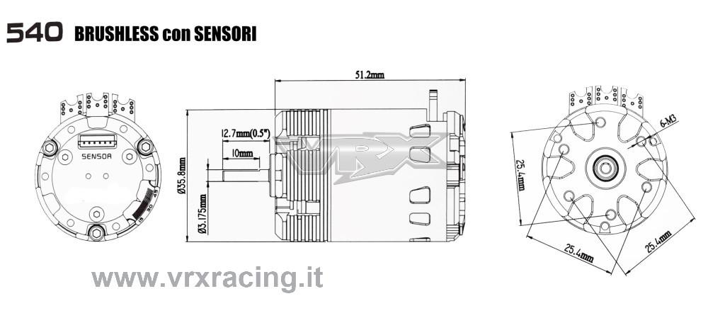 Motore da competizione 540 3.5T Rocket brushless con