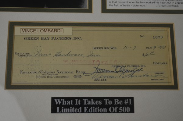 Lot Detail - Vince Lombardi Signed Green Bay Packers Check & Famous Speech Display