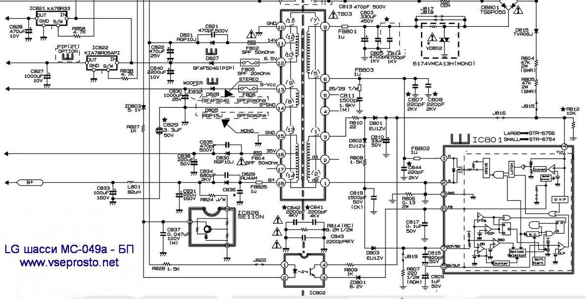 LG шасси MC-049a обратный ход луча, не хватает размера по
