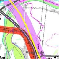 zákres budoucího vysokorychlostního železničního koridoru D 201 vedoucí v těsné blízkosti obce Všestudy