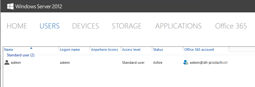 Server 2012 Essentials: Users don't show in Essentials