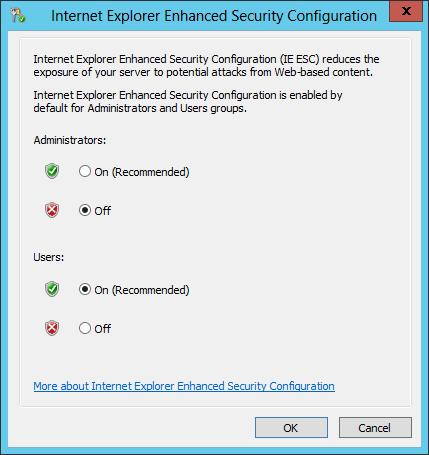 internet explorer enhanced security configuration is enabled