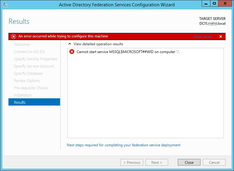 ADFS 3.0 Cannot start service MSSQL$MICROSOFT##WID 1
