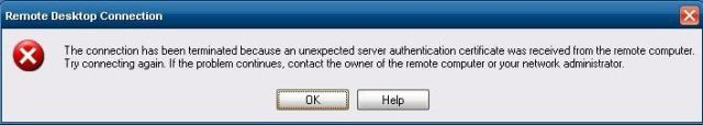 unexpected server authentication certificate
