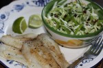 Жареная камбала с капустным салатом