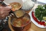 Бульон с креветками для вьетнамского фондю