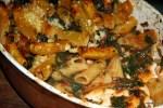 Тортильони с мангольдом, помидорами и козьим сыром