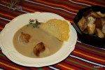 Итальянский каштановый суп с чипсами из пармезана и крутонами