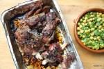 Марокканская жареная баранина с салатом из турецкого гороха и мяты