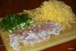 Сыр, бекон и зеленый лук для хлеб