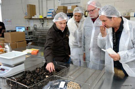 Члены комитета Мистраль посещают фабрику трюфелей. Второй справа - шеф Жан Андре Шариаль