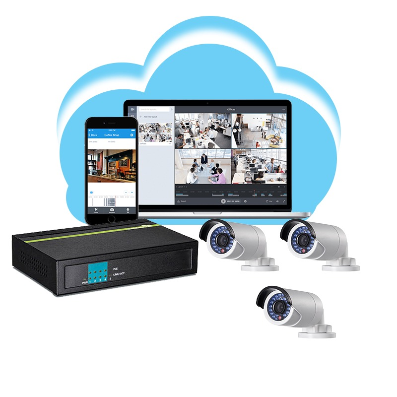 Cloud-based DVR 3 camera kit