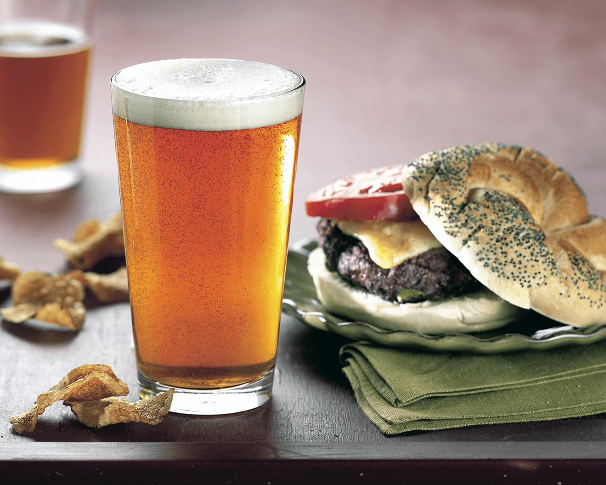 Image of beer and a hamburger