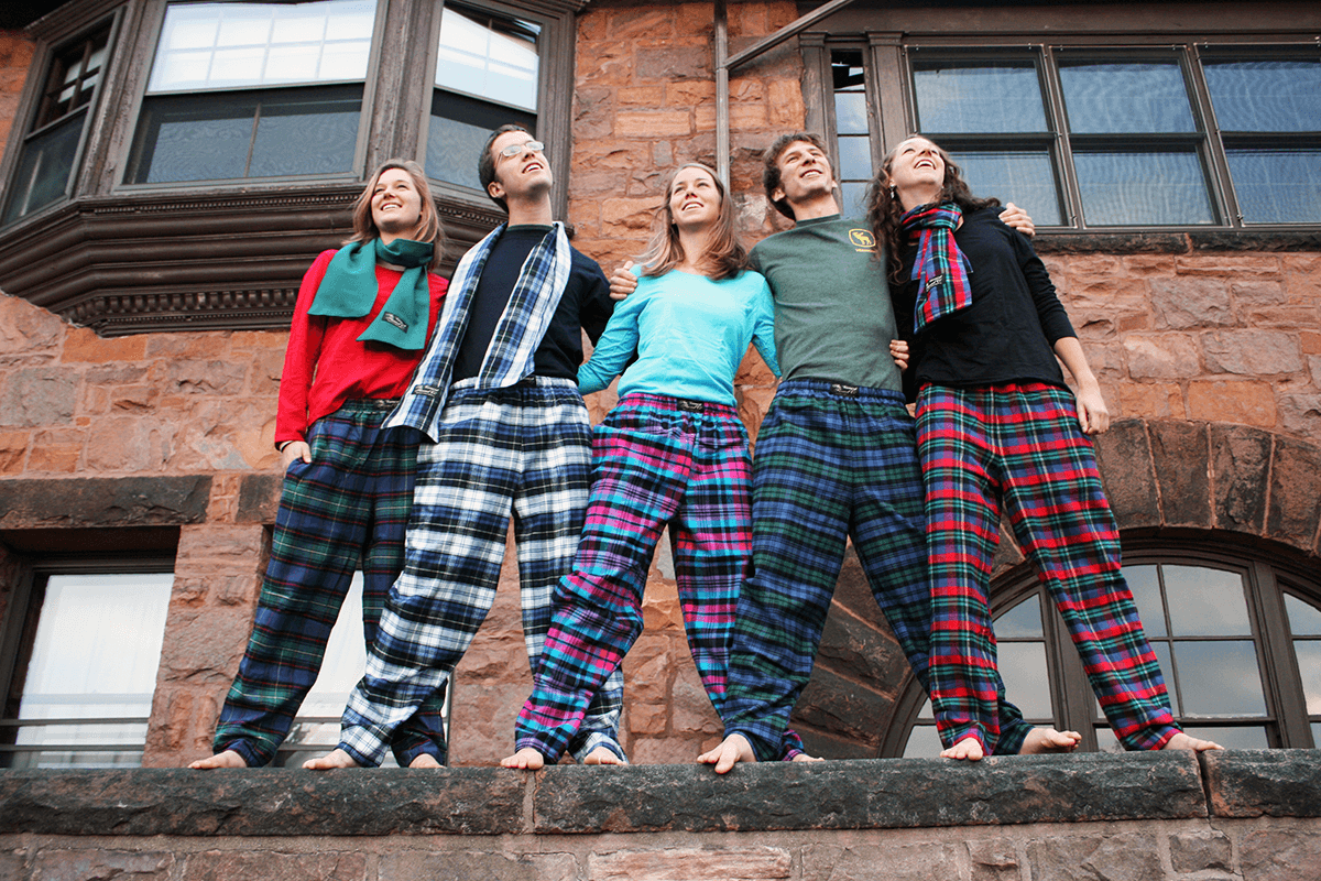 Image of college students wearing flannel pajamas