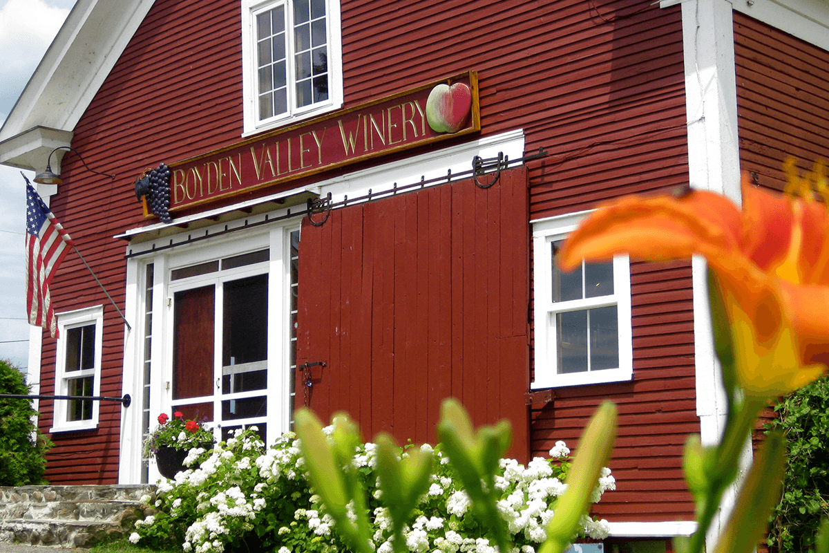 Image of flowers in front of Boyden Valley Winery