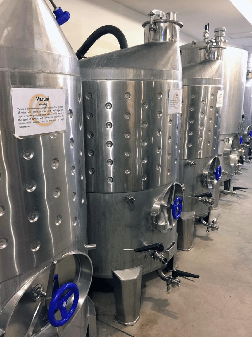Image of processing tanks at Artesano Meadery