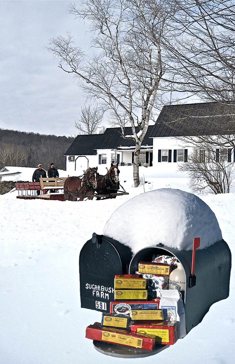 Images of gifts in a mailbox covered with snow