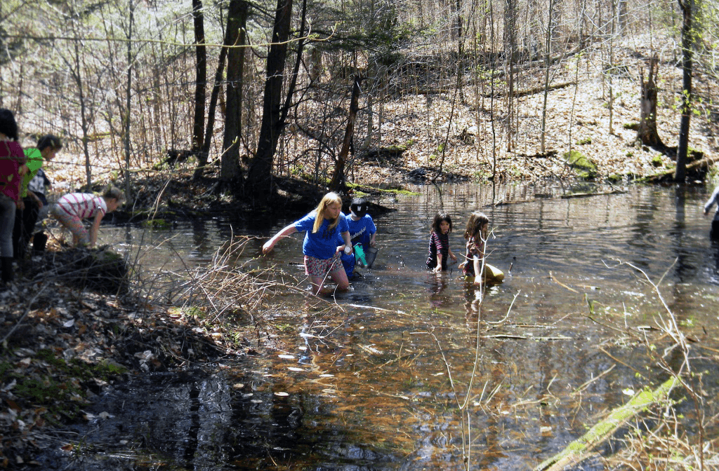 Image of children exploring a vernal pool
