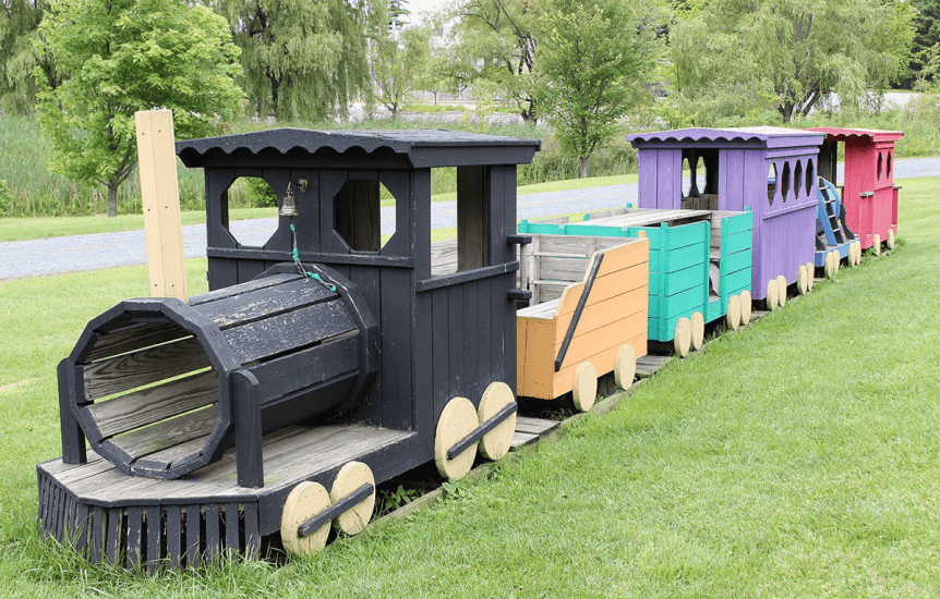 Image of a play train on the lawn