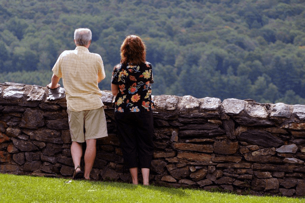 Image of a couple looking out over the valley at Hildene, The Lincoln Family Home