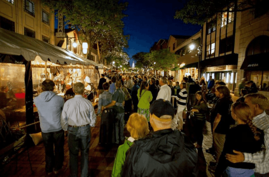 Image of people enjoying the Jazz Festival on Church Street Marketplace
