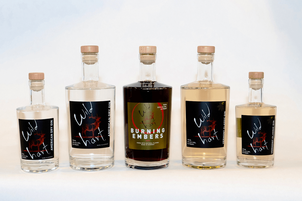 Image of gin bottles from Wild Hart Distillery