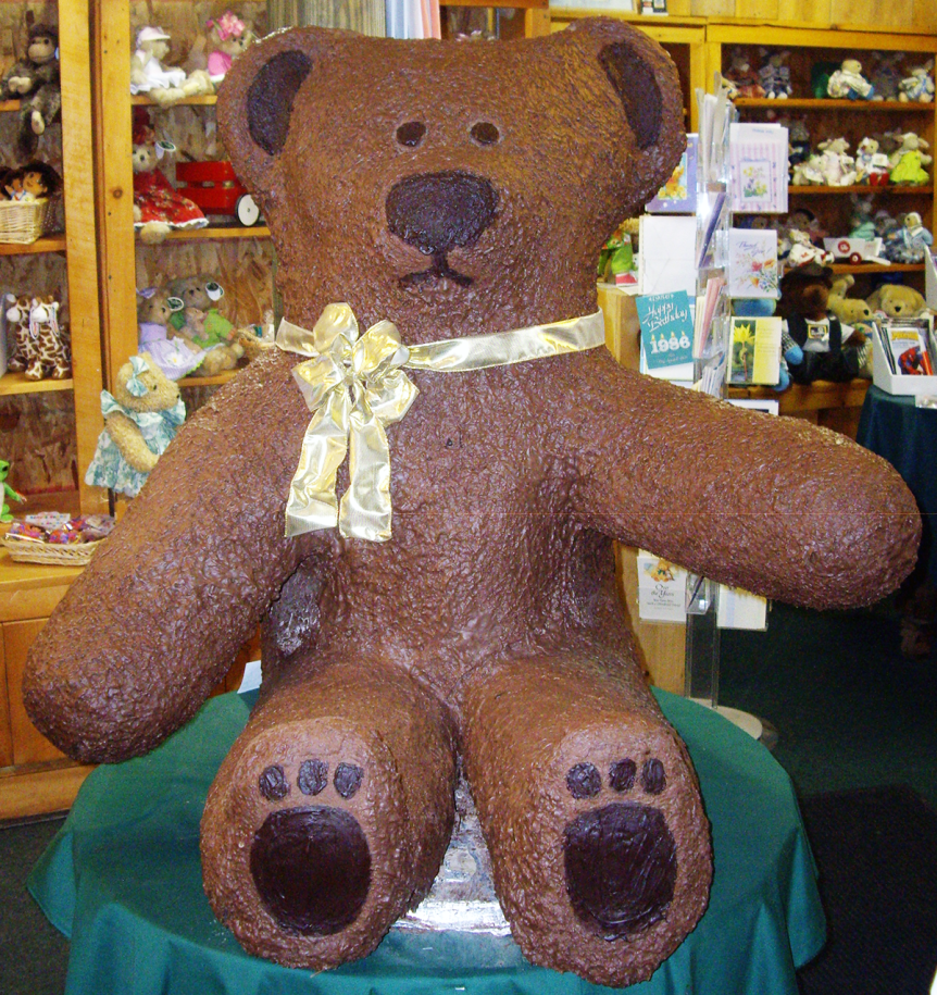 Image of a large chocolate bear at The Chocolatorium – Village Peddler