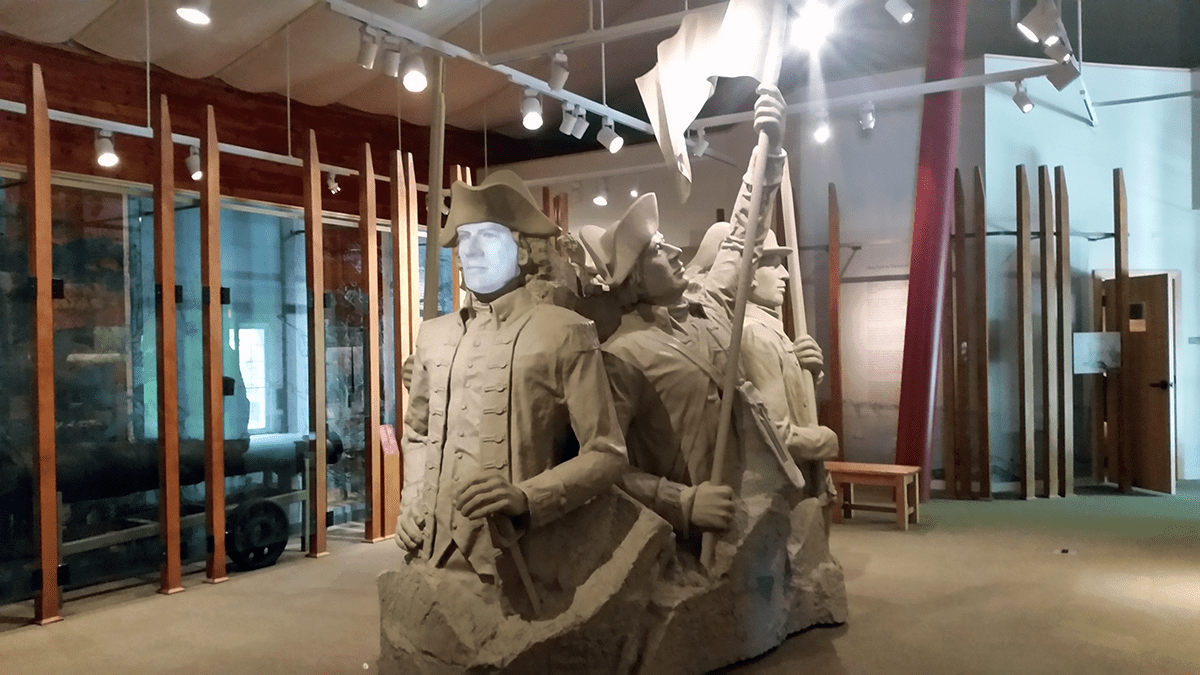 Image of statue inside Mount Independence exhibit building, a Vermont State Historic Site