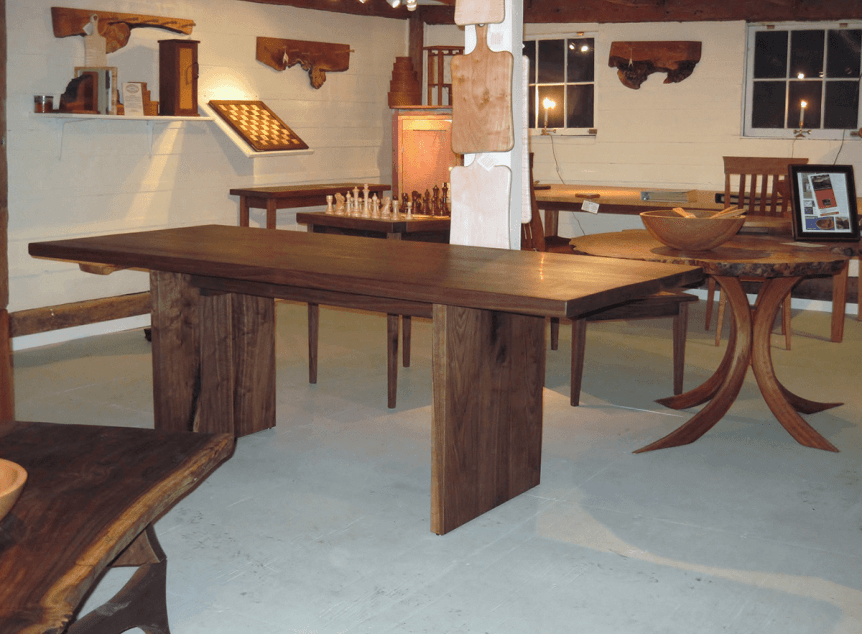 Image of black walnut tables at Rockledge Farm Woodworks