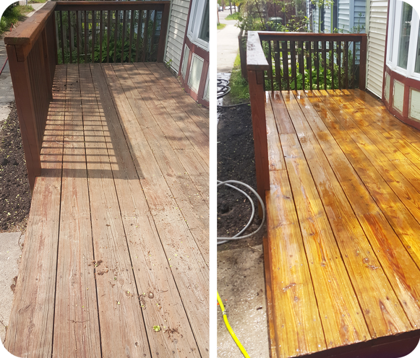 "A deck in Burlington Vermont with a ""before"" and ""After"" image from power washing"