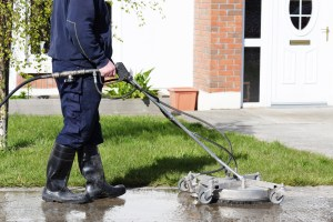 Concrete gets surface pressure washed by Vermont Home Wash