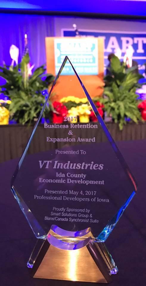 VT Receives Business Retention & Expansion Award - VT Industries Inc.